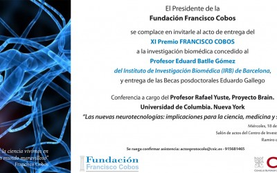Convocado el acto de entrega del XI Premio Fundación Francisco Cobos