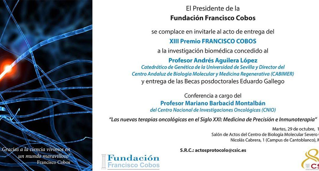 Convocado el acto de entrega del XIII Premio Fundación Francisco Cobos
